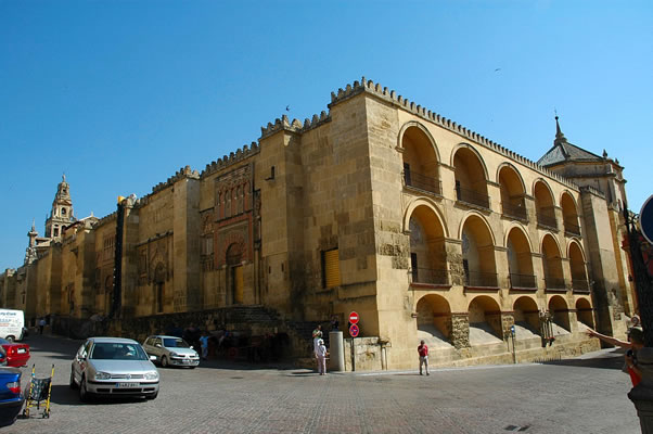 Exterior sw corner of Al-Hakam II's expansion of the Cordoba Mosque