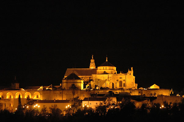 Night view of the great Mosque - Cathedral of Cordoba Spain