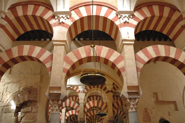 Excellent photo of columns and double arches of Cordoba's Great Mosque