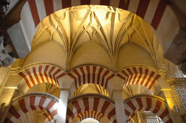 Gothic ceiling ribbing and decoration combined with Moorish arches in Cordoba Mosque - Cathedral
