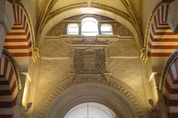 Classical elements and moorish arches adjacent to the cathedral in Cordoba's Mezquita-Catedral