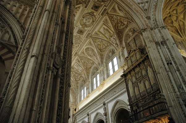 Nave ceiling above choir and organ in Cordoba Cathedral
