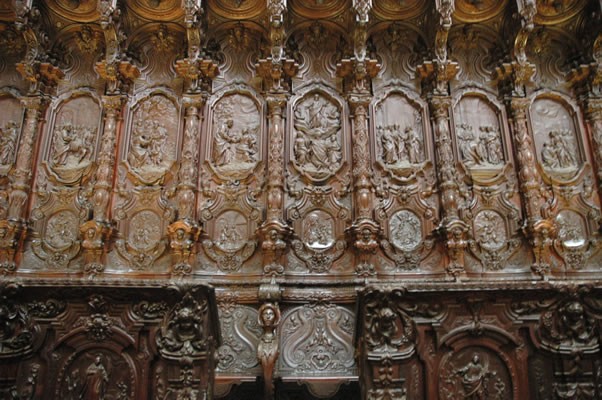 Baroque choir stalls by Pedro Duque Cornejo in the Mosque-Cathedral of Cordoba Spain